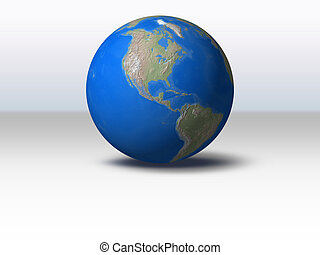 World Globe with shadow and background North America view