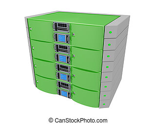 Twin Server - Green - Computer generated image - Twin Server...