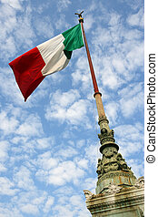 Flag of Italy - The flag of Italy blowing in the wind