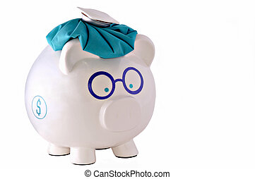 Financial Headache - Conceptual image of piggy bank with ice...