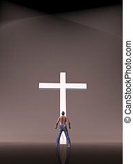 Faith, worship, christianity. - Afro american man in front...