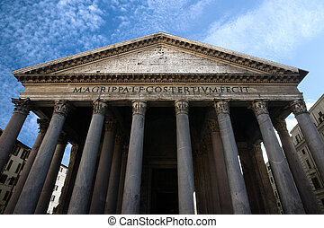 Pantheon in Rome - Image of the facade of the Pantheon in...