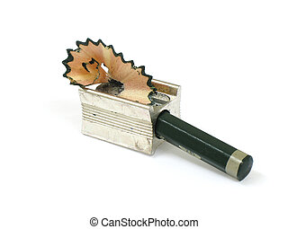 Pencil in sharpener and shaves - Pencil inside the sharpener...