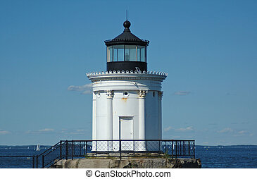 Portland Breakwater Lighthouse, Portland, ME, on a summer...