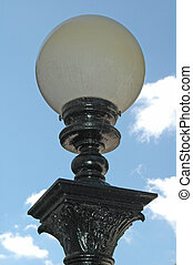 Lightpost - Old fashioned black wrought iron lamp post