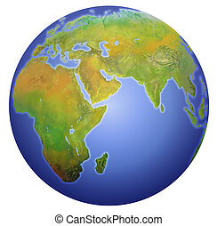 Earth showing Europe, Asia, and Africa. - Planet Earth...