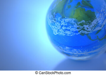 Globe on blue background as globalization concept