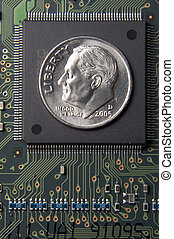 Cost of technology - Dime placed on transistor