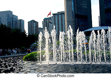 Nathan Phillips square in downtown Toronto Canada