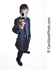 Wide-angle business - Businessman using camera phone
