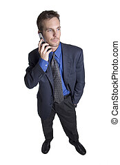 Businessman on cell - Businessman using cellular phone