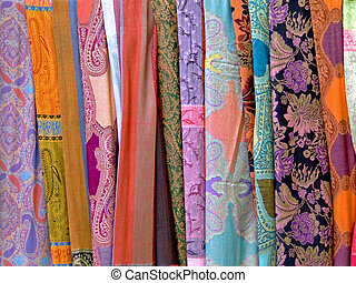 Colorful decorated scarves - Variety of decorated silk...