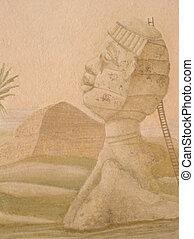 sphinx - fresco in the villa of napoleon at san martino...