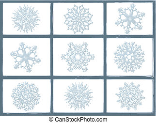 Frosted Window Panes - An illustrated frosty window with...