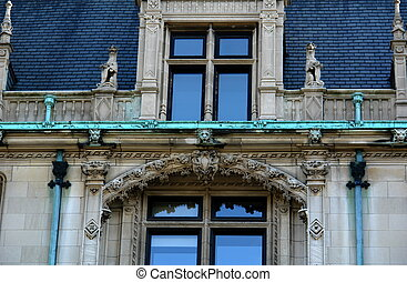 Detail of elaborate mansion roof top - detail of elaborate...