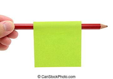 blank notepaper stick on a pencil