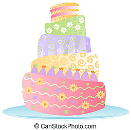 Birthday Cake - Isol - Fun, colorful birthday cake decked...