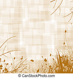 Sepia Floral Background - Sepia floral image with diamond...