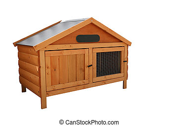 Rabbit Hutch - Wooden rabbit hutch, over white,