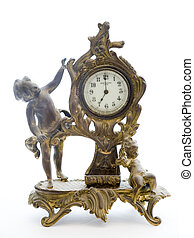 Antique Clock with Cherubs on White Background - Photo of an...
