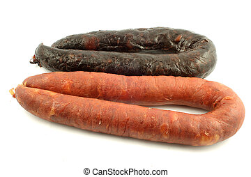 sausages - whole spicy, italian red and blood sausages