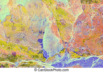 Abstract Marbling on Slate - Multi colored abstract marble...