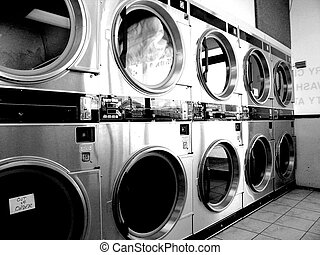 Retro Laundromat BW - Bank of Industrial clothes dryers