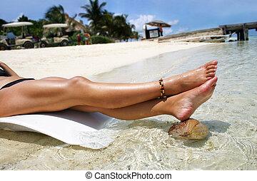 Tropical Legs - Legs on tropical beach