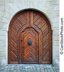 Magic woden doorway - Antique medieval wooden door: concept...