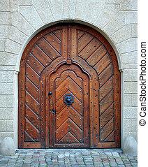Magic woden doorway - Antique medieval wooden door: concept...