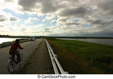 denmark biking - biking in the danish sunset