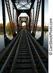 Railroad Bridge - Railroad tracks on scaled bridge crossing...