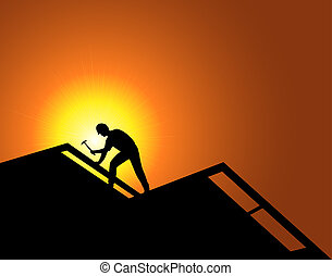 Roofing - Worker on a new construction. Roofing.