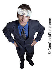 Mr. Money - businessman with dollar on his forehead