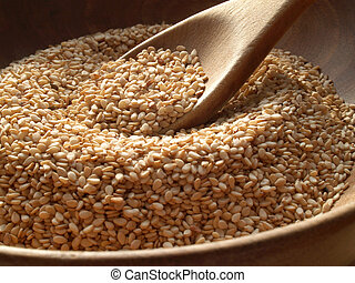 Sesame Seeds - Wooden bowl of sesame seeds