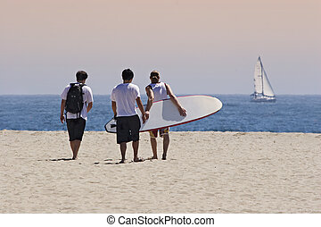 Goin surfin - Three young men walking on the sand towards...
