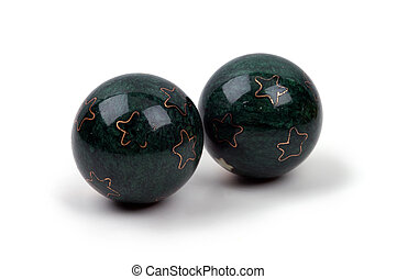 Objects - Boading Balls - Two Chinese iron health balls...