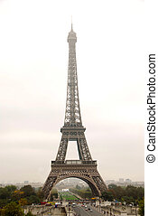 Eiffel tower on a foggy day in Paris France