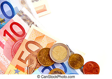 Euro money - Currency of European union bills and coins,...
