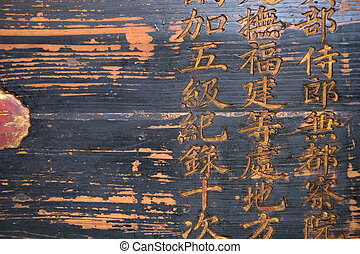Wooden Sign - Weathered wooden sign with characters