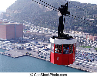 cable car - aerial passenger line above the port of...