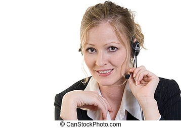 customer service operator - friendly attractive smiling...