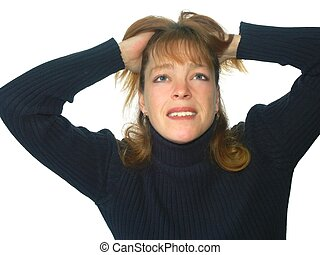 frustrated - isolated woman with frustrated expression or...