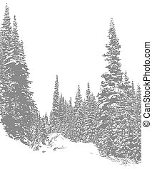 Snowy Trail 1 - Artistic depiction of mountain trail covered...