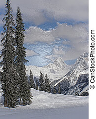 Valley Vista 2 - Artistic depiction of winter view of a...