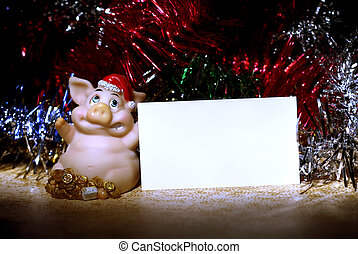 pig with card - New year