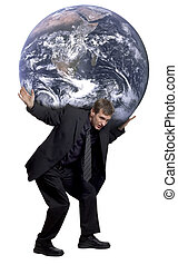 Weight of the world - Man carrying the world on his...