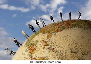 global, negócio, equipe