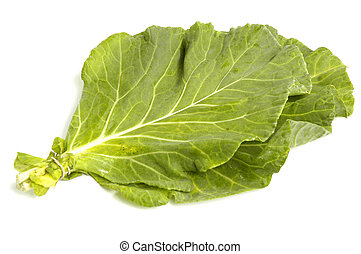 Collard Greens - Vegetable collard greens over white...