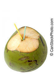 Coconut Water - Green Coconut isolated on white background